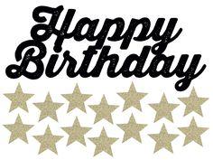 バースデーケーキに飾る星と切り抜きハッピーバースデーのケーキトッパーの無料テンプレート