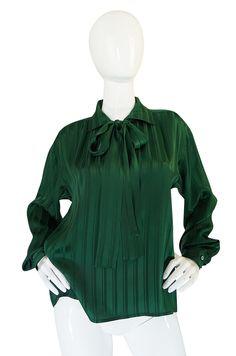 1970s Yves Saint Laurent Green Silk Stripe on Stripe Top