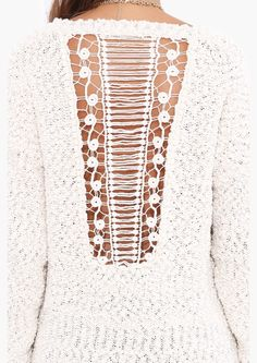 Lacey Knit Sweater in Cream