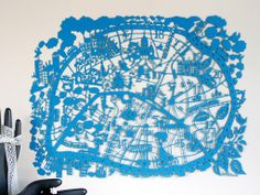 Paris Turquoise Paper Cut - modern, artful, whimsical take on a city map. I love the delicacy and the color, like a city layout rendered in lace.