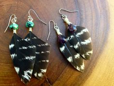 Turkey Feather & Turquoise Earrings by SummeRush on Etsy