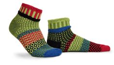 Solmate Mismatched Ankle Socks - Snapdragon - Colors in this sock: lime green, red, black, bamboo green, royal blue (no poly) Solmate Socks, Ankle Socks, Sock Shop, Human Art, Cotton Socks, Simple Living, Ankle Length, Hosiery, Royal Blue