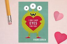 Eyes for You Classroom Valentine's Day Cards minted.com