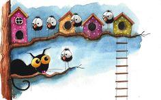 Original watercolor painting whimsical Stressie Cat crow birds birdhouse tree  #IllustrationArt