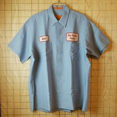 【Perfect】古着USA製ブルー(青)State Electric Supply半袖ワッペンワークシャツ|メンズLサイズ|sy-s-86