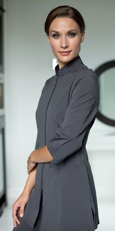 Ladies cobalt blue one button healthcare tunic for Spa uniform supplier in singapore