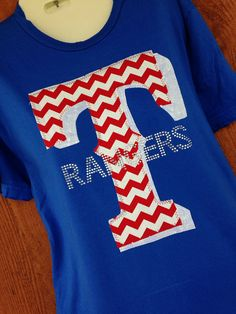 Texas Rangers Chevron And Bling TShirt by ThreadsToo on Etsy, $34.00