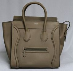 Celine Dune Pebbled Leather Small Mini Luggage Tote Bag, Sold Out in Stores