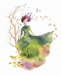 Fallen Leaves  by Olga Cuttell | watercolor giclee print