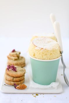 Meyer Lemon and Pistachio Shortbread & Meyer Lemon Souffle
