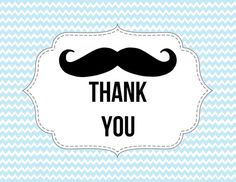 Mustache Thank you Card Little Man theme by PaperDollDesigns14