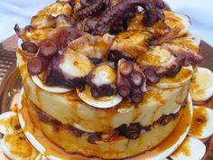 Ensalada de pulpo y patata en timbal