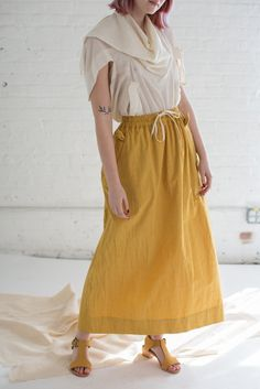 Long Cotton Skirt in Yellow