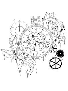 Tattoo Key Tattoos, Mini Tattoos, Body Art Tattoos, Sleeve Tattoos, Tattoo Sketches, Tattoo Drawings, Time Clock Tattoo, Pocket Watch Drawing, Henna Designs
