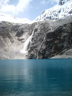 Waterfall forming in Laguna 69, Huaraz, Peru