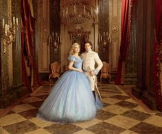 Lily James (with Richard Madden as the prince) on set. - Photo: Courtesy of Disney Studios