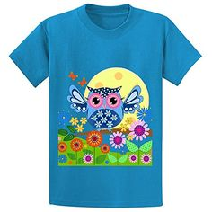 Snowl Spring Owl In A Flower Garden Girls Crew Neck Short Sleeve Tees Blue -- Find out more about the great product at the image link.