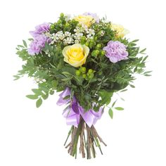 Роза желтая (3), Лента натуральная (2), Гвоздика лиловая (4), Фисташка (5), Гиперикум зеленый (2), Ваксфлауэр белый (2), Рускус израильский (3)