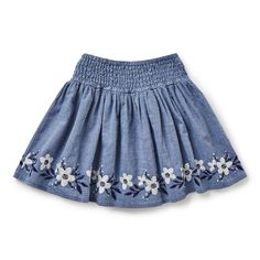 Full circle skirt features folk style embroidery along hem with elasticated gathered waistband. Available in Washed Chambray. Baby Skirt, Baby Dress, Kids Outfits Girls, Girl Outfits, Little Girl Dresses, Girls Dresses, Toddler Fashion, Kids Fashion, Full Circle Skirts