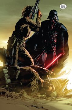 Cliffhanger for Star Wars # 13 part of the Vader Down series. Princess Leia face to face with the Dark Lord of the Sith. (Between Ep. IV and V). Anakin Vader, Anakin Skywalker, Darth Vader, Star Wars Books, Star Wars Characters, Star Wars Comics, Star Wars Humor, Star Wars Fan Art, Star Trek