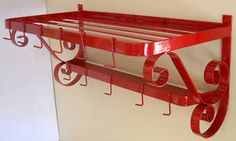 Image detail for -Pot Pan Rack Retro Red Kitchen Decor Wall Mount Metal | eBay