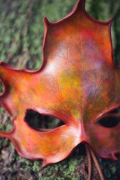 Autumn Colors Handmade Leather Maple Leaf Mask by Osborne Arts Mabon, Samhain, Fantasy Magic, Leather Mask, Leather Leaf, Tooled Leather, Beltane, Masquerade Ball, Venetian Masquerade