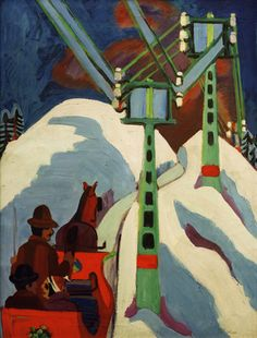 Kirchner, Ernst Ludwig  1880-1938.  'Schlittenfahrt' (Sledging), 1922.  Oil on canvas, 100 x 75cm.  On loan from a private collection since  1941,  Frankfurt a.M., Staedelsches Kunstinstit.  © akg-images