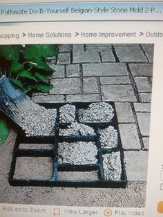 Neat way to make a garden path using an old picture frame and grout stuff
