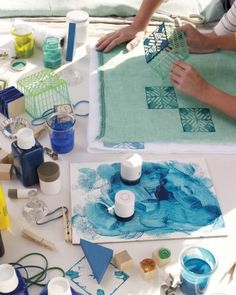 Craft Tools and Projects: Block Printing - Martha Stewart Art For Kids, Crafts For Kids, Arts And Crafts, Paper Crafts, Stamp Printing, Printing On Fabric, Diy Projects To Try, Art Projects, Do It Yourself Inspiration