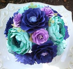 Handmade Paper Flowers - Wedding Bouquet - Purple - Teal - Sea Foam - Bride or Bridesmaid - Custom Made - Any Color