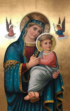 Adorable icon of our Blessed mother and our Lord and Saviour. Catholic Prayers, Catholic Art, Catholic Saints, Blessed Mother Mary, Blessed Virgin Mary, Religious Images, Religious Art, Jesus Father, Hail Holy Queen