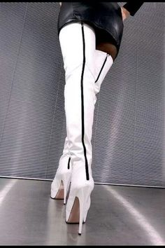 Thigh High White Leather Boots - Boot Hto