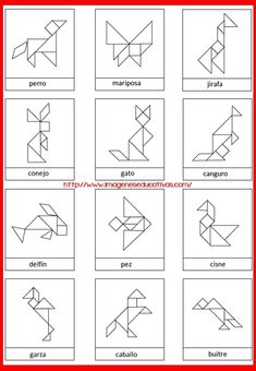 Free Animal Contours for Tangram Game Tangram Printable, Learning Activities, Activities For Kids, Preschool Learning, Teaching, Tangram Puzzles, Math Art, Math For Kids, Pattern Blocks