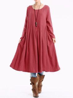 Sale 13% (23.49$) - O-NEWE L-5XL Vintage Women Pleated A-line Dress