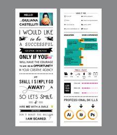 Very creative Curriculum Vitae by Giuliana Castelliti, via Behance Site Portfolio, Portfolio Resume, Cv Original Design, Cv Digital, Conception Cv, Best Cv, Cv Simple, Mises En Page Design Graphique, Carte De Visite