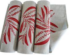 Linen Placemats Screen Printed Linen Place Mats Handprinted Linen Table Mats Red&Natural Australian Wattle (set of