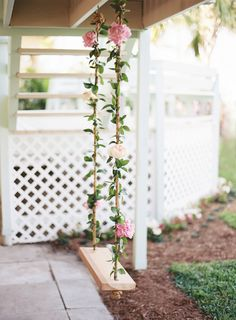 Romantic Garden Wedding by the Sea A backyard Florida wedding filled with pastel garden blooms and soft film photography by Ozzy Garcia. Wedding Themes, Wedding Decorations, Wedding Ideas, Wedding Fun, Wedding Colors, Rustic Wedding, Wedding Ceremony, Wedding Swing, Wedding Backyard
