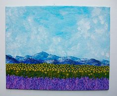 Field of Lavender and Sunflowers ORIGINAL ACRYLIC by MikeKrausArt