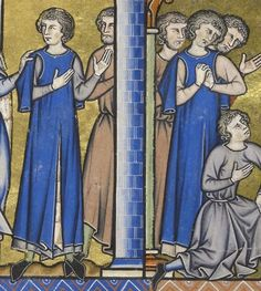 MS M. Louis Bible Date Paris, France, ca. Medieval Clothing Men, Medieval Fashion, Historical Clothing, Medieval Manuscript, Medieval Art, Date, Old Clothes, 14th Century, Fashion History