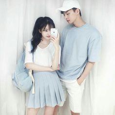 Korean Fashion – How to Dress up Korean Style – Designer Fashion Tips Matching Couple Outfits, Matching Couples, Cute Couples, Matching Clothes, Mode Ulzzang, Ulzzang Girl, Korean Couple, Korean Girl, Ulzzang Fashion