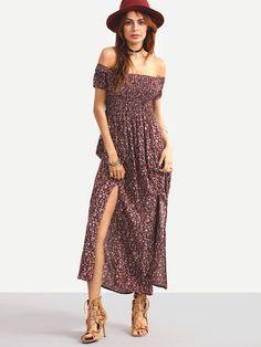 Boho Summer Off-The-Shoulder Slit-Front Floral Dress Burgundy