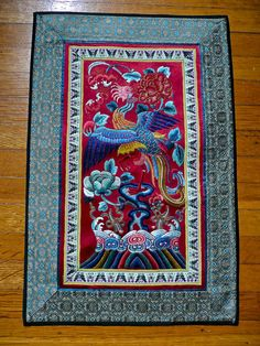 Antique Chinese Silk Embroidery Phoenix And Peony Wall Hanging Decor Asian Embroidered Textile Oriental