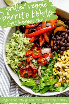 move over chipotle, this plant-based vegetarian and vegan black bean burrito bowl with green rice is loaded with flavor! love to meal prep? my mexican rice bowl recipe is wholesome, plant-based, naturally vegan & gluten-free, & meal prep-friendly! Healthy Recipes, Veggie Recipes, Mexican Food Recipes, Whole Food Recipes, Vegetarian Recipes, Vegetarian Rice Bowl Recipe, Mexican Bowl Recipe, Plant Based Dinner Recipes, Plant Based Meals