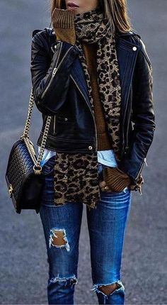 fall  outfits · Leopard Scarf    Leather Jacket    Destroyed Jeans   495e52bbcbe83