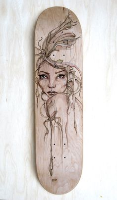 burned wood stenciling By Fay Helfer! Link stitched to C. You are in the right place about Skateboarding supreme Here we offer you the most beautiful pictures about the Wood Burning Crafts, Wood Burning Patterns, Wood Burning Art, Wood Crafts, Diy Wood, Pyrography Designs, Pyrography Patterns, Pyrography Ideas, Skateboard Deck Art
