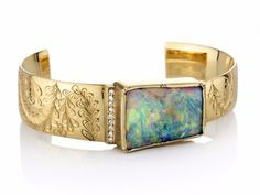 Brooke Gregson - Palomino engraved boulder opal halo cuff mounted on yellow gold