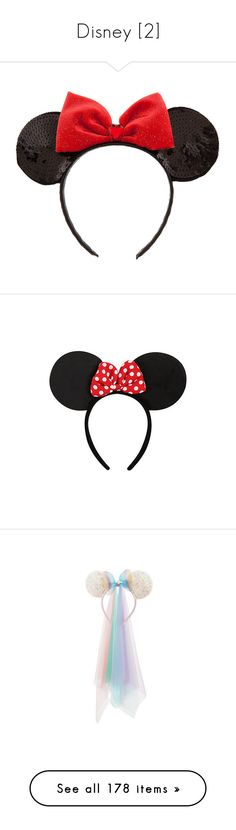 """""""Disney [2]"""" by gdavilla ❤ liked on Polyvore featuring accessories, hair accessories, hats, headbands, hair, jeweled hair accessories, sequin headbands, red bow headband, sparkly headbands and red bow hair accessories"""