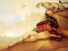 Michael Parkes Fantasy Art : Magic Realistsm  Paintings   - Desert Dragonfly - Michael Parkes Fantasy Art  Wallpaper  13