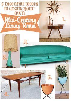 5 essential pieces of mid-century modern living room decor