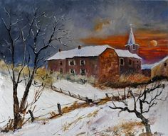 Snow in Houyet, painting by artist ledent pol
